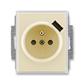 Zásuvka jednonásobná s ochranným kolíkom, s clonkami, s USB nabíjaním, Element®, slonová kosť / ľadová biela