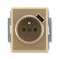 Zásuvka jednonásobná s ochranným kolíkom, s clonkami, s USB nabíjaním, Element®, kávová / ľadová opálová