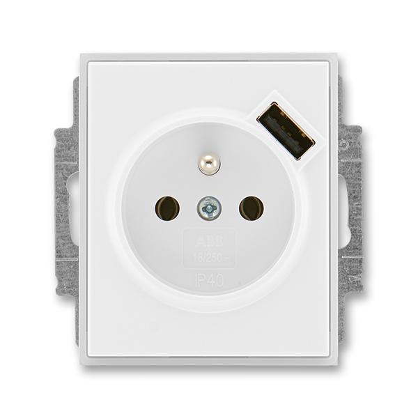 Zásuvka jednonásobná s ochranným kolíkom, s clonkami, s USB nabíjaním, Time®, Element®, biela / ľadová biela