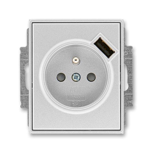 Zásuvka jednonásobná s ochranným kolíkom, s clonkami, s USB nabíjaním, Time®, Time® Arbo, titánová