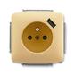 Zásuvka jednonásobná s ochranným kolíkom, s clonkami, s USB nabíjaním, Tango®, béžová
