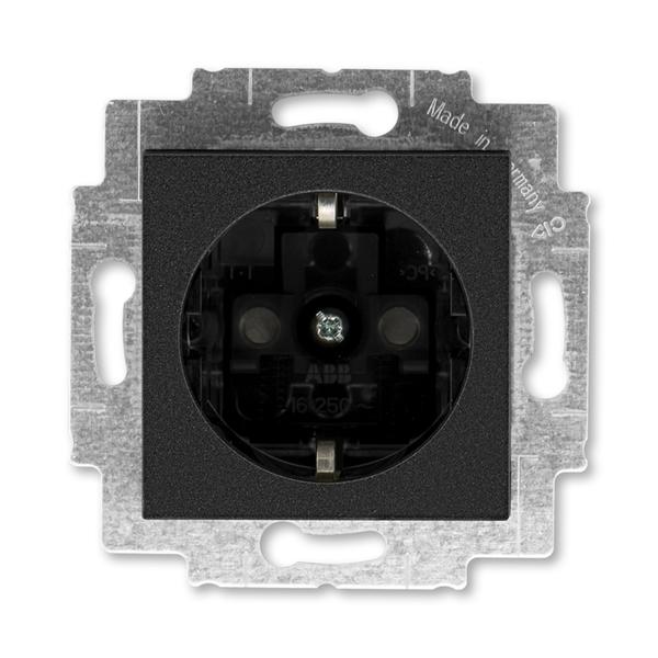 Zásuvka jednonásobná s ochrannými kontaktmi (podľa DIN), s clonkami, Levit®M, onyx / dymová čierna