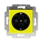 Zásuvka jednonásobná s ochrannými kontaktmi (podľa DIN), s clonkami, Levit®, žltá / dymová čierna