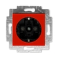 Zásuvka jednonásobná s ochrannými kontaktmi (podľa DIN), s clonkami, Levit®, červená / dymová čierna