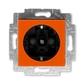 Zásuvka jednonásobná s ochrannými kontaktmi (podľa DIN), s clonkami, Levit®, oranžová / dymová čierna