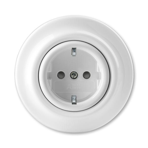 Zásuvka jednonásobná s ochrannými kontaktmi (podľa DIN), s clonkami, Decento®, biela