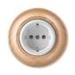 Zásuvka jednonásobná s ochrannými kontaktmi (podľa DIN), s clonkami, Decento®, biela / prírodný buk