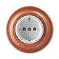 Zásuvka jednonásobná s ochrannými kontaktmi (podľa DIN), s clonkami, Decento®, biela / čerešňa