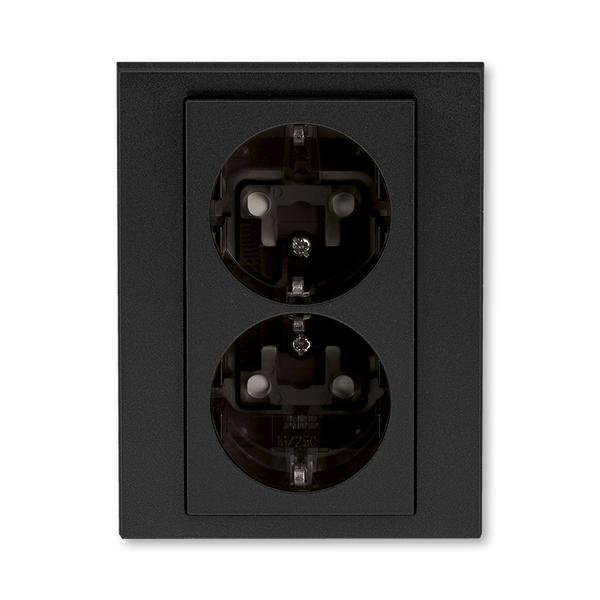 Zásuvka dvojnásobná s ochrannými kontaktmi (podľa DIN), s clonkami, Levit®M, onyx / dymová čierna