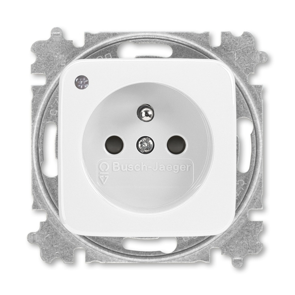 Zásuvka jednonásobná s ochranným kolíkom, s clonkami, so signalizáciou prevádzkového stavu, Reflex SI, alpská biela