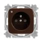 Zásuvka jednonásobná s ochranným kolíkom, s clonkami, so signalizáciou prevádzkového stavu, Reflex SI, hnedá