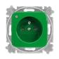 Zásuvka jednonásobná s ochranným kolíkom, s clonkami, so signalizáciou prevádzkového stavu, Reflex SI, zelená