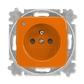 Zásuvka jednonásobná s ochranným kolíkom, s clonkami, so signalizáciou prevádzkového stavu, Reflex SI, oranžová