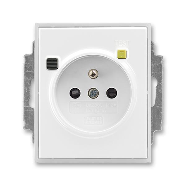 Zásuvka bezpečnostná FI-DOS s vstavaným prúdovým chráničom, s clonkami, Time®, Element®, biela / ľadová biela