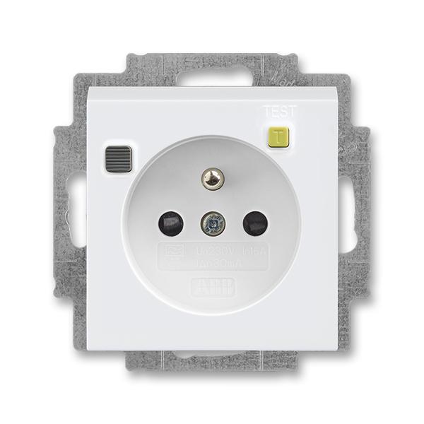 Zásuvka bezpečnostná FI-DOS s vstavaným prúdovým chráničom, s clonkami, Levit®, biela / biela