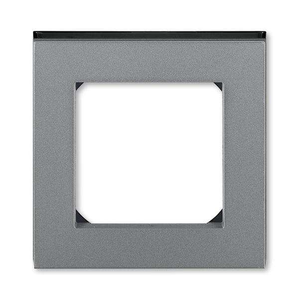 Rámček pre elektroinstalačné prístroje, jedno násobný, oceľová / dymová čierna