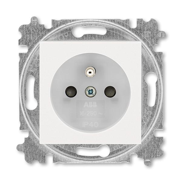 Zásuvka jednonásobná s ochranným kolíkom, s clonkami, perleťová / ľadová biela
