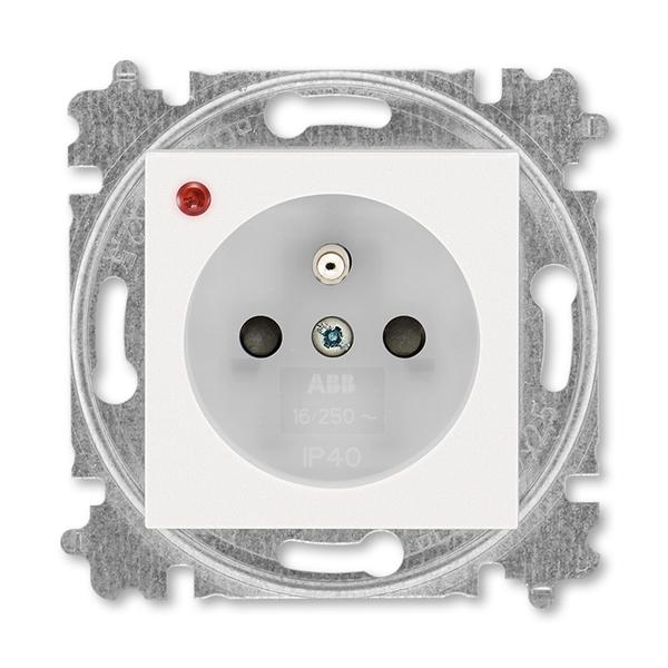 Zásuvka jednonásobná s ochranným kolíkom, s clonkami, s ochranou pred prepätím, perleťová / ľadová biela
