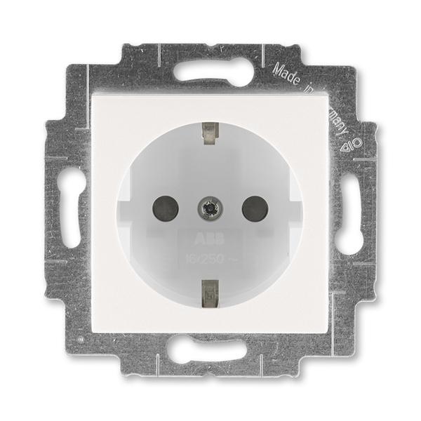 Zásuvka jednonásobná s ochrannými kontaktmi (podľa DIN), s clonkami, perleťová / ľadová biela