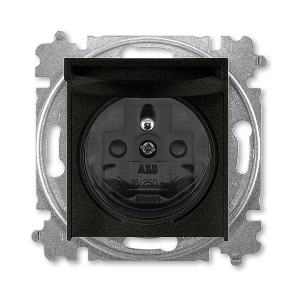 Zásuvka jednonásobná s ochranným kolíkom, s clonkami, s viečkom, onyx / dymová čierna