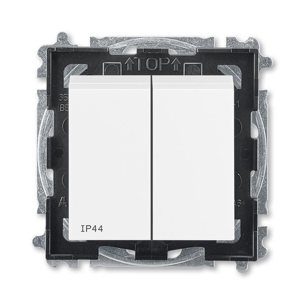 Prepínač sériový IP 44, zapustený, biela / biela