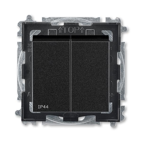 Prepínač sériový IP 44, zapustený, onyx / dymová čierna
