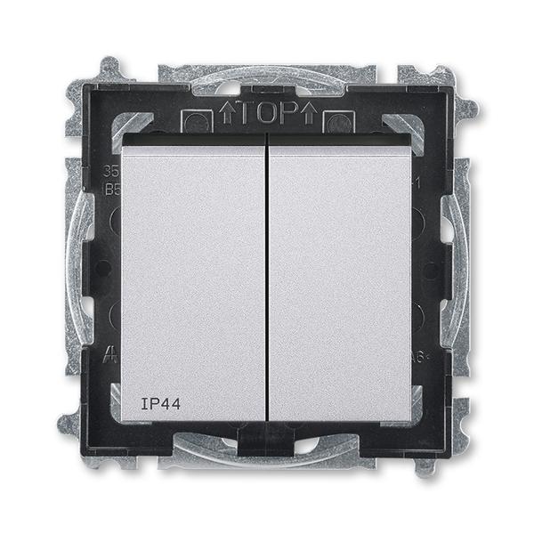 Prepínač sériový IP 44, zapustený, titánová / dymová čierna
