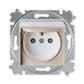 Zásuvka jednonásobná IP 44, s ochranným kolíkom, s clonkami, s viečkom, macchiato / biela