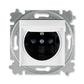 Zásuvka jednonásobná IP 44, s ochranným kolíkom, s clonkami, s viečkom, biela / dymová čierna