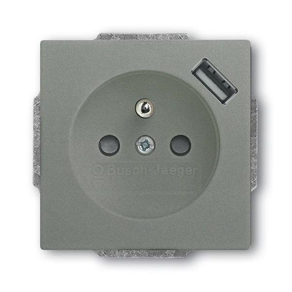 Zásuvka jednonásobná s ochranným kolíkem, s clonkami, s USB nabíjením, Future® linear, Solo®, Solo® carat, metalická šedá