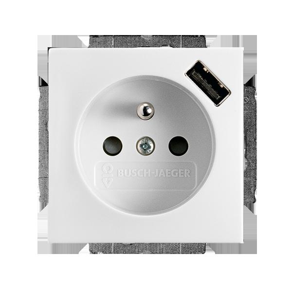 Zásuvka jednonásobná s ochranným kolíkom, s clonkami, s USB nabíjaním, biela