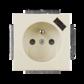 Zásuvka jednonásobná s ochranným kolíkom, s clonkami, s USB nabíjaním, slonová kosť