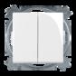 Ovládač zapínací dvojitý 1/0+1/0, s krytom, biela