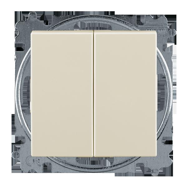 Ovládač zapínací dvojitý 1/0+1/0, s krytom, slonová kosť