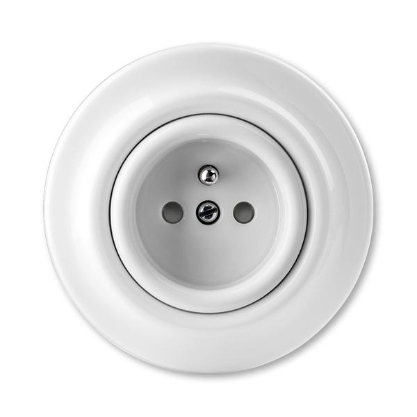 Zásuvka jednonásobná s ochranným kolíkom, s clonkami, Decento®, bílá