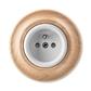 Zásuvka jednonásobná s ochranným kolíkom, s clonkami, Decento®, bílá / přírodní buk