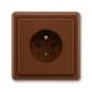 Zásuvka jednonásobná s ochranným kolíkom, Classic, hnedá