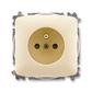 Zásuvka jednonásobná s ochranným kolíkom, s clonkami, Tango®, slonová kosť