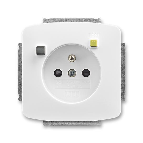 Zásuvka bezpečnostná FI-DOS s vstavaným prúdovým chráničom, s clonkami, Tango®, biela