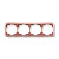 Rámček pre elektroinštalačné prístroje, štvor násobný vodorovný, Tango®, vresová červená