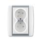 Zásuvka dvojnásobná s ochrannými kolíkmi, s clonkami, s natočenou dutinou, Element®, biela / ľadová šedá