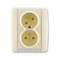Zásuvka dvojnásobná s ochrannými kolíkmi, s clonkami, s natočenou dutinou, Element®, slonová kosť / ľadová biela