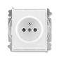 Zásuvka jednonásobná s ochranným kolíkom, s clonkami, Element®, Time®, biela / biela