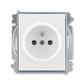 Zásuvka jednonásobná s ochranným kolíkom, s clonkami, Element®, biela / ľadová šedá