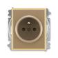 Zásuvka jednonásobná s ochranným kolíkom, s clonkami, Element®, kávová / ľadová opálová