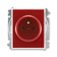 Zásuvka jednonásobná s ochranným kolíkom, s clonkami, Element®, Time®, karmínová / biela