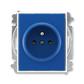Zásuvka jednonásobná s ochranným kolíkom, s clonkami, Element®, Time®, modrá / biela