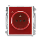Zásuvka jednonásobná s ochranným kolíkom, s clonkami, s ochranou pred prepätím, Element®, Time®, karmínová / biela