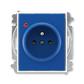 Zásuvka jednonásobná s ochranným kolíkom, s clonkami, s ochranou pred prepätím, Element®, Time®, modrá / biela