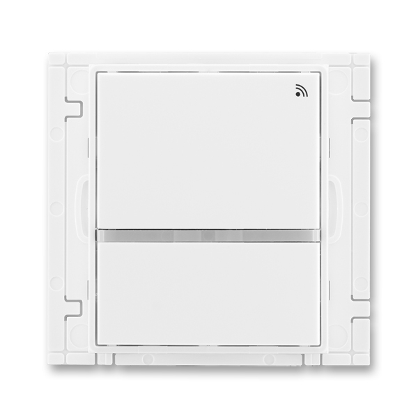 Vysielač rádiofrekvenčného (RF) signálu dvojtlačidlový, nástenný, Element®, Time®, biela / biela